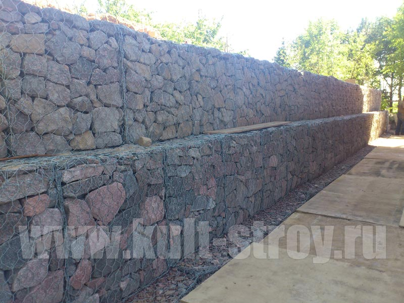 подпорная стена из габионных камней