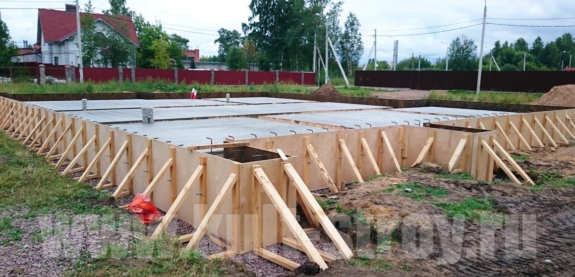бетонный фундамент с опалубкой