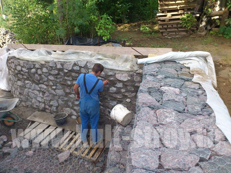 работы по возведению стены